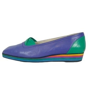 VINTAGE Stuart Weitzman Multicolor Rainbow Wedge